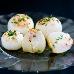 Onions Stuffed with Adobado Queso Fresco