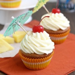 Pina Colada Cupcakes with Coconut Cream Cheese Frosting