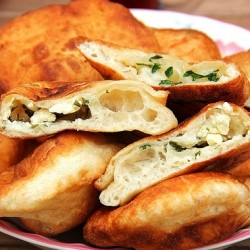 Pisi Turkish Fried Dough with Feta White Cheese Filling