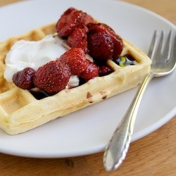 Polenta Waffles with Strawberries