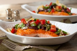 Salmon with Artichoke Tomato Olive Tapenade Recipe