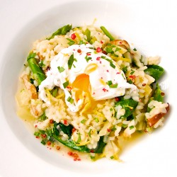 Spring Risotto with Poached Eggs Recipe