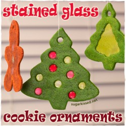 Stained Glass Christmas Tree Ornament Cookies