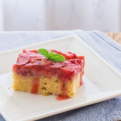 Strawberry Rhubarb Upside-Down Cake