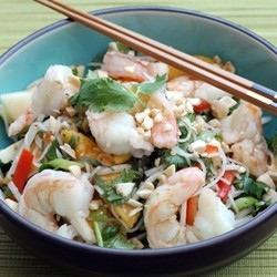 Thai Shrimp Peach Noodle Salad Recipe