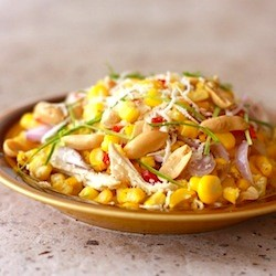 Thai Sweet Corn Salad with Kaffir Lime Leaves