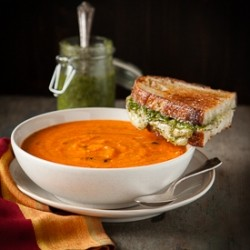 Tomato Basil Soup with Pesto Grilled Cheese Recipe