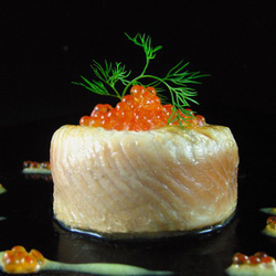 Trout with Scallops and Salmon Roe