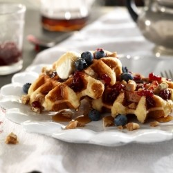 Waffles with Lingonberry Jam and Honey Whipped Ricotta Recipe