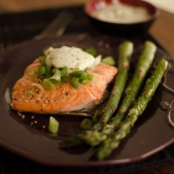 Baked Salmon with Wasabi Mayo