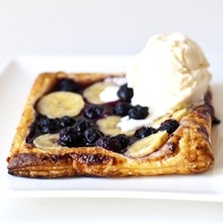 Banana Blueberry Tarts on Puff Pastry