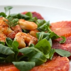 Blood Orange Mache and Shrimp Salad