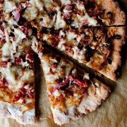 Caramelized Onion Prosciutto Gluten Free Pizza