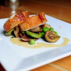 Chicken with Fiddleheads Fingerlings and Peas Recipe