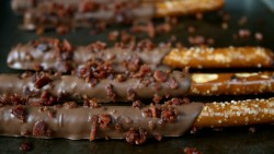 Chocolate Covered Pretzels with Maple Smoked Bacon Crumbles Recipe