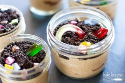 Edible Chocolate Mousse Gardens with Gummy Worms Recipe