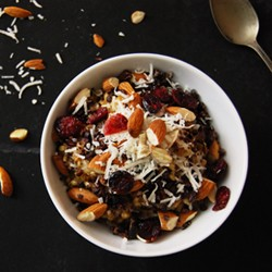 Farro Barley Cereal with Coconut Milk Almonds and Cacao Nibs Recipe