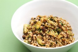 Farro with Pan Roasted Brussels Sprouts Recipe