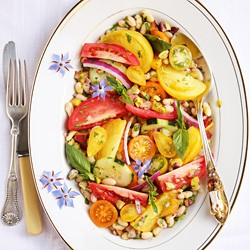 Flageolet Nectarine Tomato Salad with Ginger Lime Pistachios