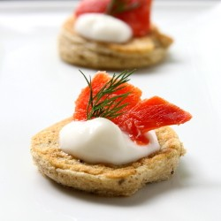 Home Cured Salmon on Mushroom Blini