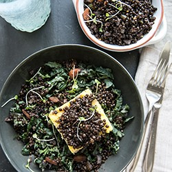Red Wine Braised Lentils Over Grilled Polenta Recipe