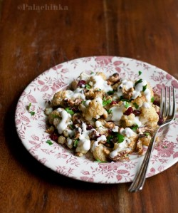 Roasted Cauliflower Salad with Walnuts Cranberries and Yoghurt Sauce