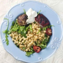 Roasted Strawberry and Arugula Couscous with Lamb Loukaniko