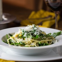 Spaghetti Carbonara with Arugula and Sweet Corn