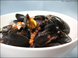 Steamed Mussels in a Savory White Wine and Tomato Broth