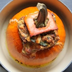 Stuffed Pumpkin with Bacon Cheese Spinach and Herbs Recipe