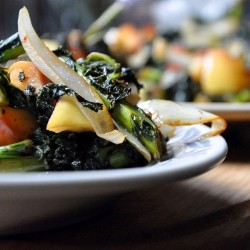 Warm Kale Salad with Apple Fennel and Dates
