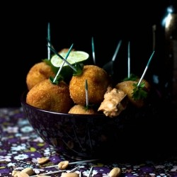Avocado Cream Rice Balls with Chili Peanut Butter Dip