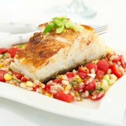 Bass with Barley Corn Salsa Recipe