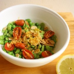 Broad Bean Tomatoes Garlic Oil Salad Recipe