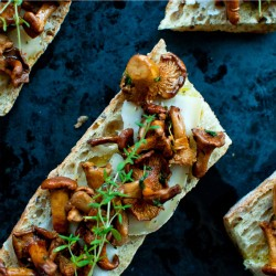 Chanterelle Mushroom Bruschetta with Thyme and Goat Cheese Recipe