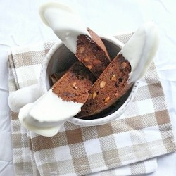 Chocolate Macadamia Nut Biscotti with White Chocolate