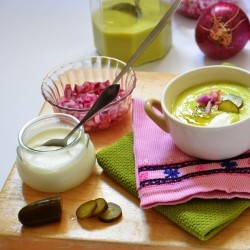 Cold Avocado Soup with Marinated Red Onion Recipe