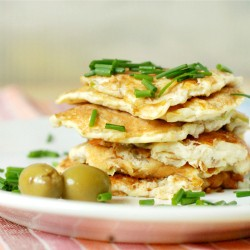 Cottage Cheese Pancakes with Green Olives and Leeks Recipe