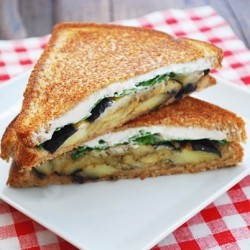 Eggplant Goat Cheese Basil Sandwich Recipe