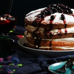 Layered Sponge Cake with Balsamic Blueberries Recipe