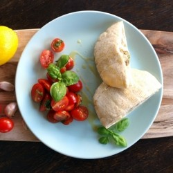 Lemon Meatballs with Garlic Sauce and Tomato Salad
