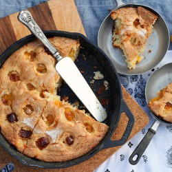 Plum Almond Ginger Skillet Cake Recipe