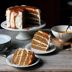 Pumpkin Spice Layer Cake with Cream Cheese Frosting and Caramel Recipe