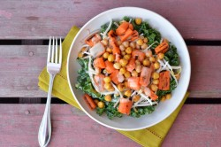Roasted Carrot and Chickpea Salad with Miso Ginger Dressing