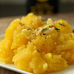Rutabaga Mash with Crispy Garlic
