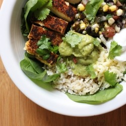 Seared Tofu Brown Rice Burrito Bowls Recipe