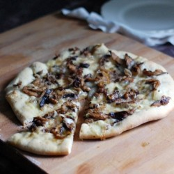 Shiitake Mushroom Pizza with Goat Cheese and Honey Brown Butter