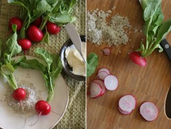 Sliced Radishes with Bread Butter and Salt