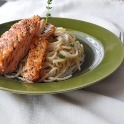 Spaghetti with Lime Thyme Sauce and Salmon Recipe