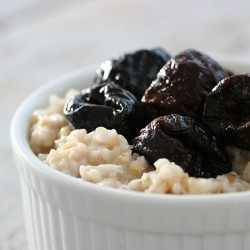Stewed Prunes on Steel Cut Oats